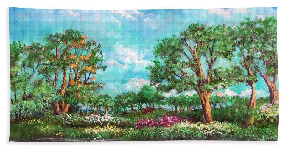Eden Beach Towel featuring the painting Summer In The Garden Of Eden by Randy Burns