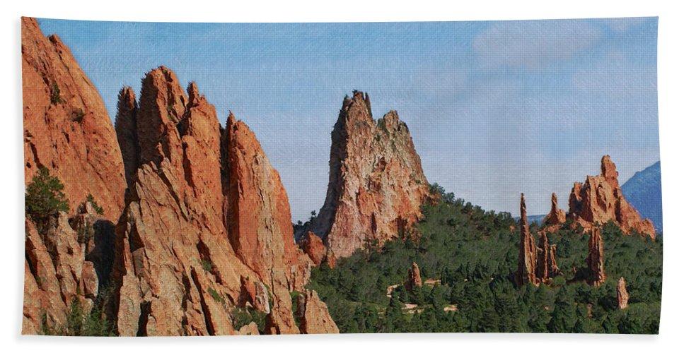 Colorado Beach Towel featuring the photograph Garden Of The Gods Colorado De by Ernie Echols