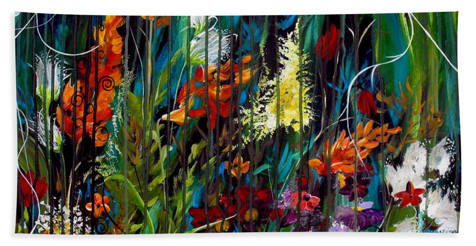 Abstract Beach Towel featuring the painting Garden Of Wishes by Ruth Palmer