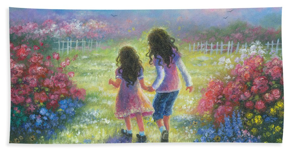 Two Sisters Beach Towel featuring the painting Garden Sisters by Vickie Wade