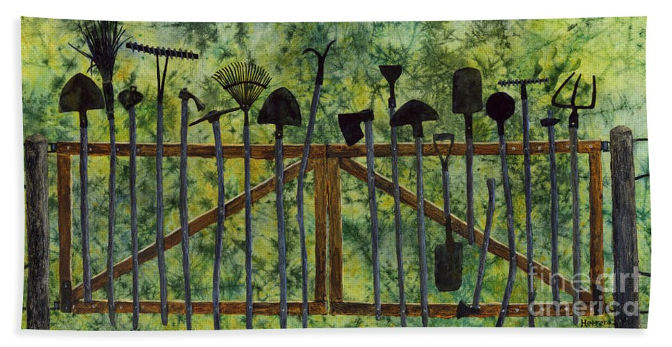 Tools Beach Towel featuring the painting Garden Tools by Hailey E Herrera