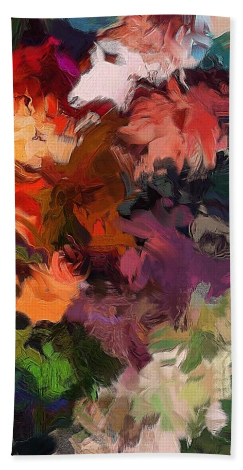 Abstract Floral Beach Towel featuring the digital art Garden Wall by David Lane