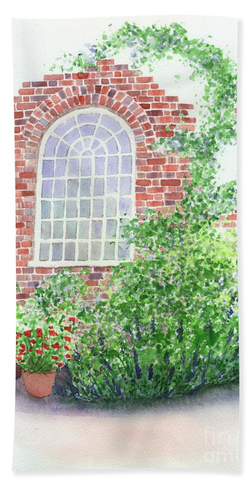Window Beach Towel featuring the painting Garden Wall by Lynn Quinn