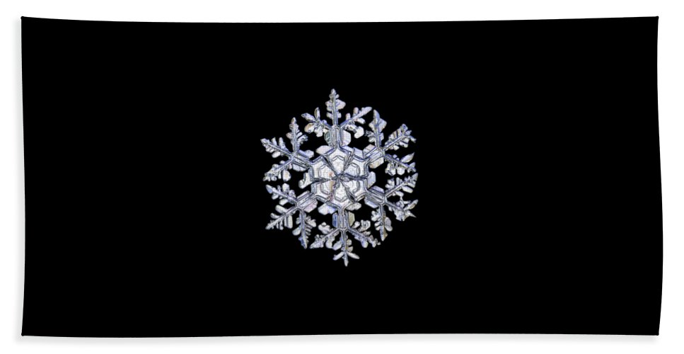 Snowflake Beach Towel featuring the photograph Gardener's Dream, White On Black Version by Alexey Kljatov