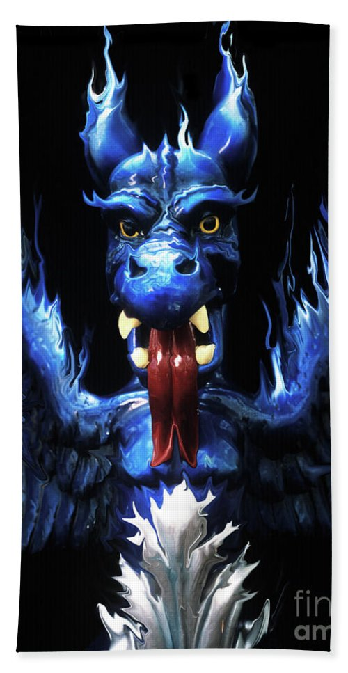 Blue Beach Towel featuring the photograph Gargoyle by Jim And Emily Bush