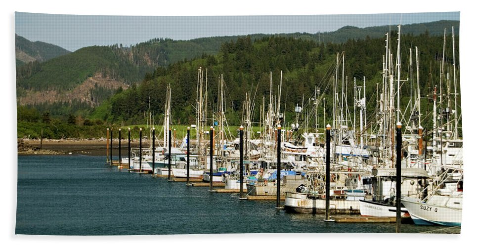 Oregon Beach Towel featuring the photograph Garibaldi Oregon Marina by Renee Hong