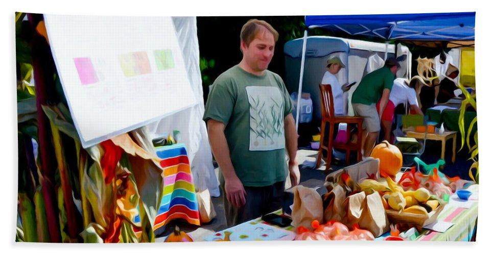 Garlic Festival Vendors Beach Towel featuring the painting Garlic Festival Vendors by Jeelan Clark