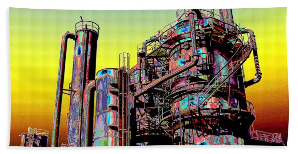 Seattle Beach Towel featuring the digital art Gasworks Park 1 by Tim Allen