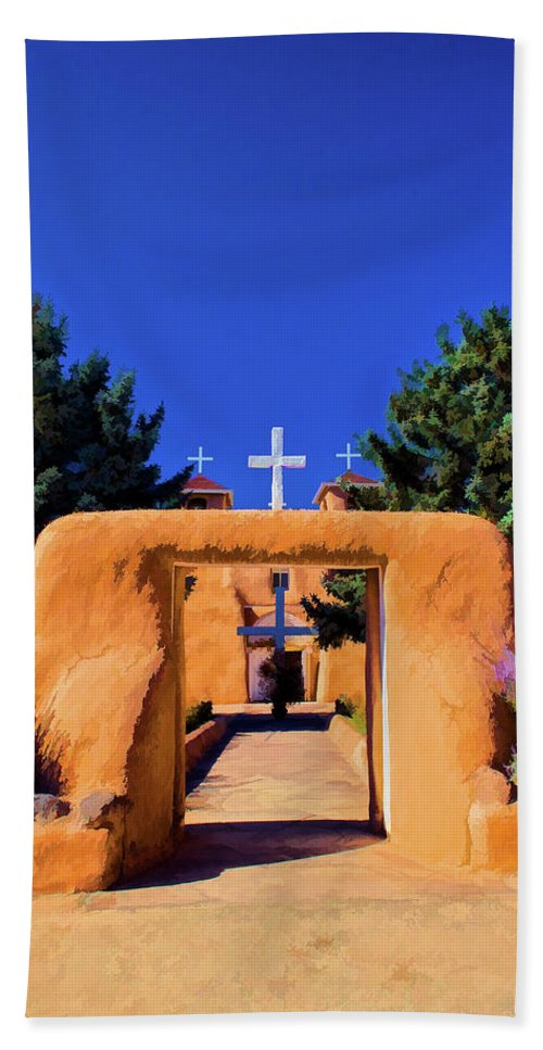 Ranchos Beach Towel featuring the digital art gate of church in Ranchos by Charles Muhle