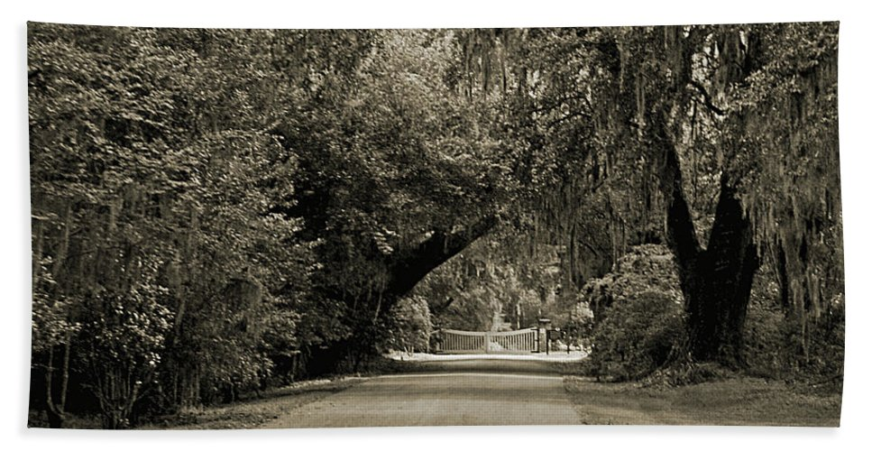 Plantation Beach Towel featuring the digital art Gate To Magnolia Plantation by DigiArt Diaries by Vicky B Fuller
