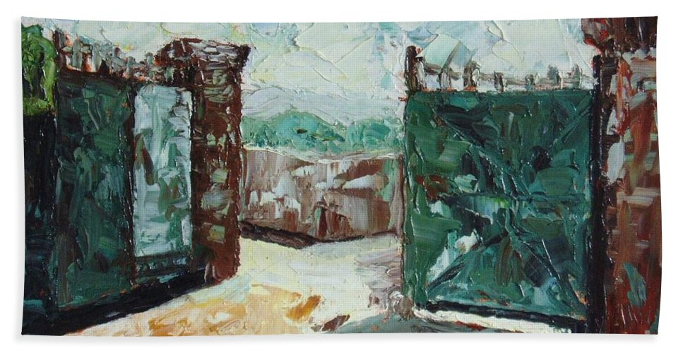 Gate Oil Canvas Beach Towel featuring the painting Gate2 by Seon-Jeong Kim