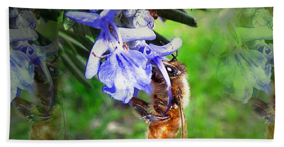 Bee Beach Towel featuring the photograph Gathering Rosemary Pollen by Joyce Dickens