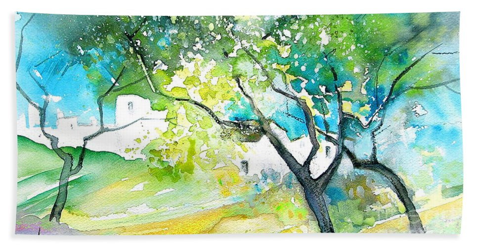 Spain Painting Water Colour Sketch Travel Gatova Beach Towel featuring the painting Gatova Spain 04 by Miki De Goodaboom