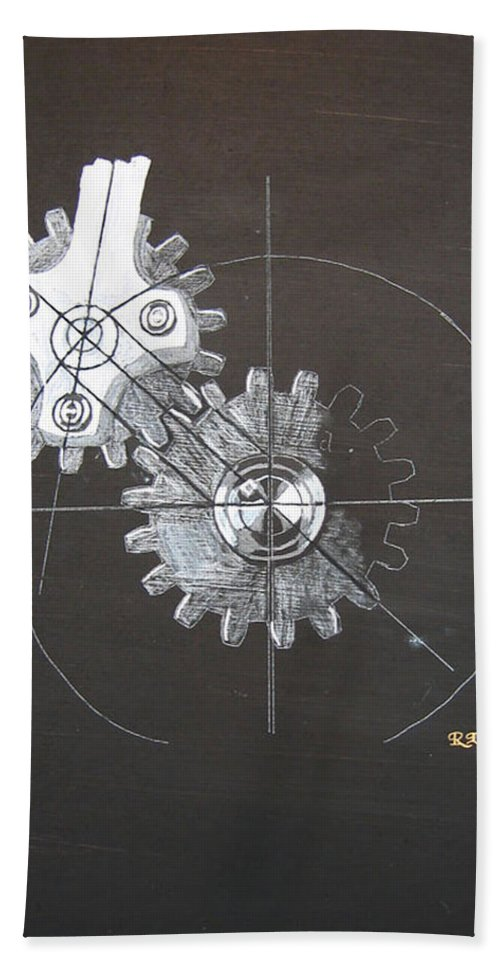 Gears Beach Towel featuring the painting Gears No1 by Richard Le Page