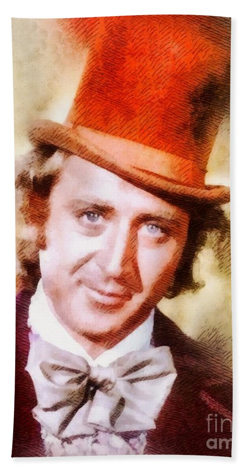 Hollywood Beach Towel featuring the painting Gene Wilder, Vintage Actor by John Springfield