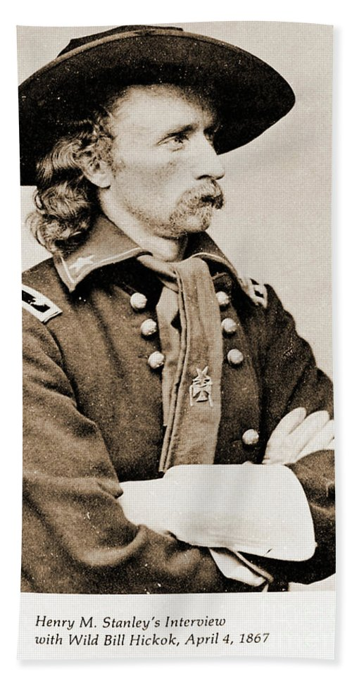 Army Beach Towel featuring the photograph General George Custer by Gary Wonning
