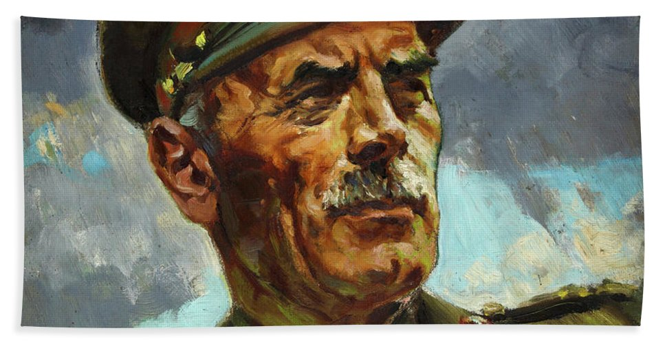 Painting Beach Towel featuring the painting General Sir Alan Cunningham by Harold Foster