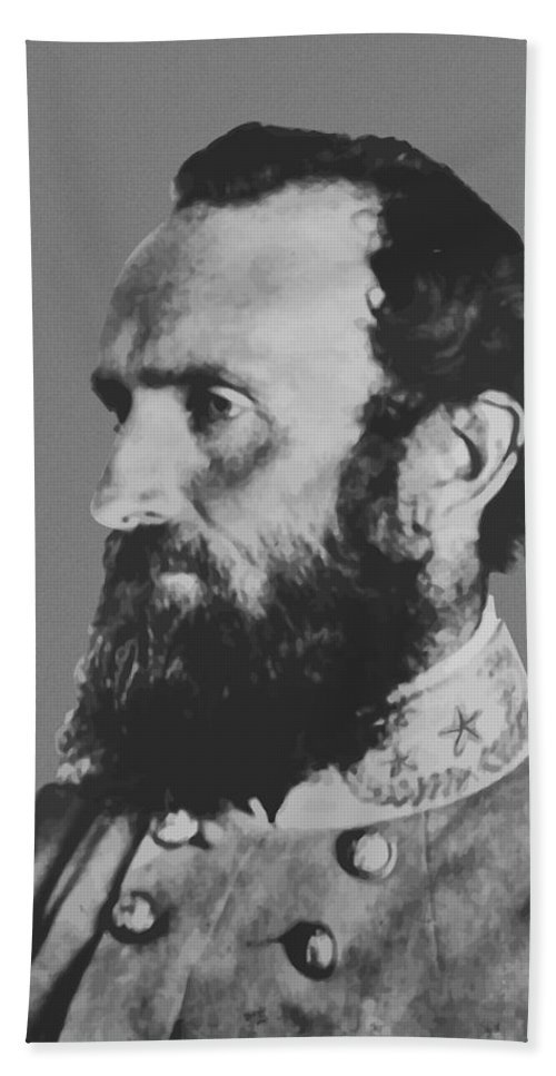 Stonewall Jackson Beach Towel featuring the painting General Stonewall Jackson Profile by War Is Hell Store