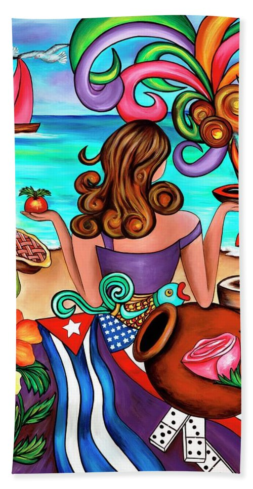 Cuba Beach Towel featuring the painting Generation Spanglish by Annie Maxwell