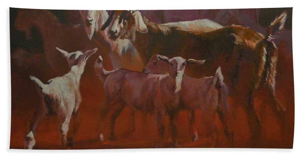 Goats Beach Towel featuring the painting Generations by Mia DeLode