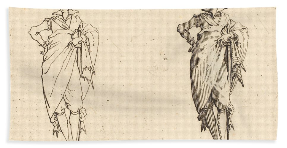 Beach Towel featuring the photograph Gentleman Viewed From The Front With Hand On Hip by Jacques Callot