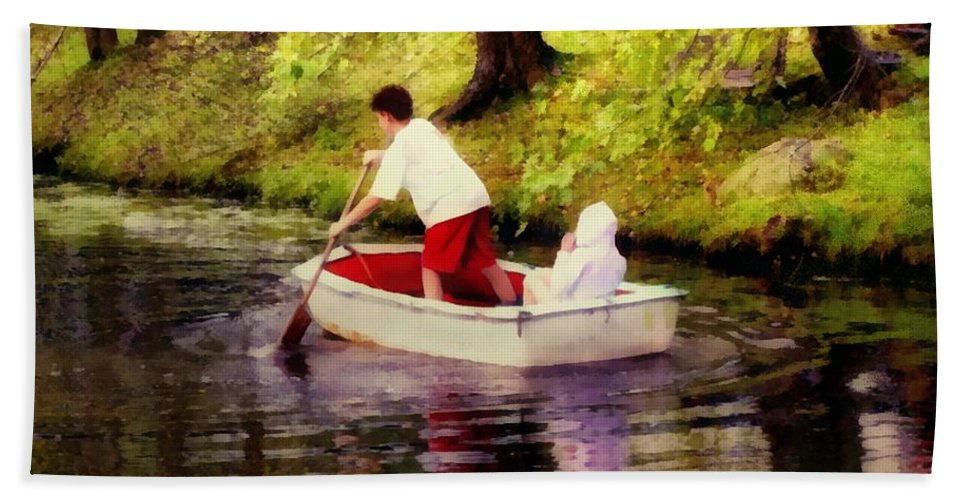 Landscape Beach Towel featuring the painting Gently Down The Stream by RC DeWinter