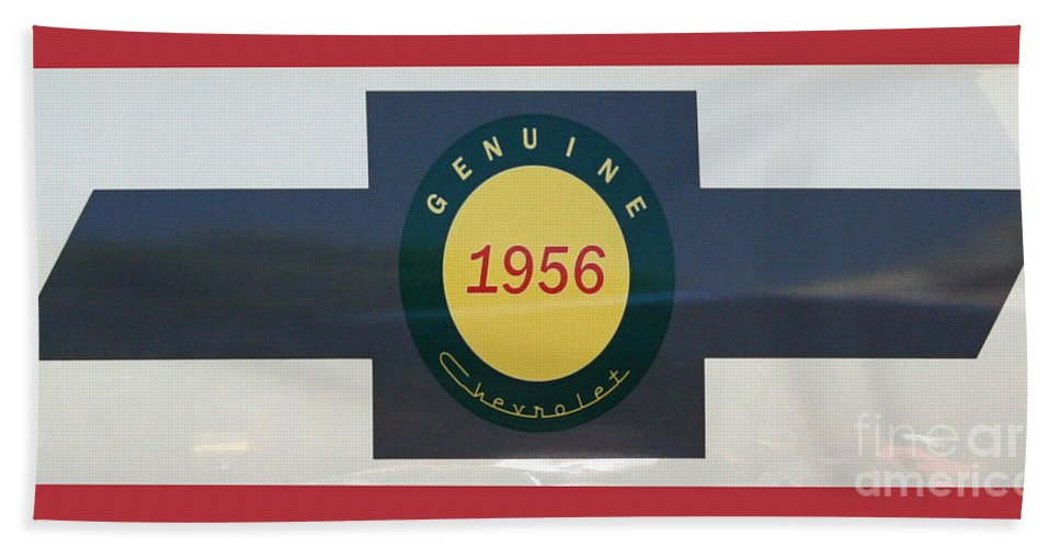 Chevy Beach Towel featuring the photograph Genuine 1956 Chevrolet by Gwyn Newcombe