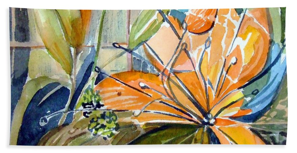 Lilies Beach Towel featuring the painting Geo Day Lilies by Mindy Newman