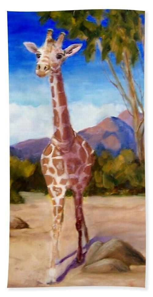 Giraffe Beach Towel featuring the painting Geoffrey Giraffe by Jamie Frier