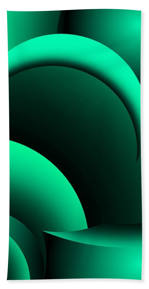 Fine Art Beach Towel featuring the digital art Geometric Abstract In Green by David Lane