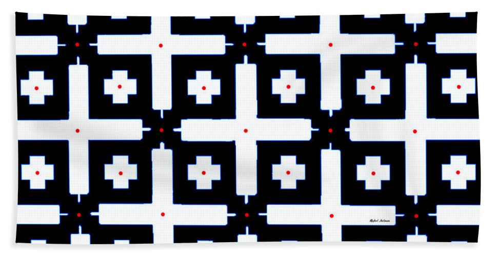 Lineal Beach Towel featuring the digital art Geometric In Black And White by Rafael Salazar