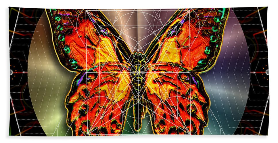 Butterfly Beach Towel featuring the digital art Geometron Fyr Lepidoptera by Iowan Stone-Flowers