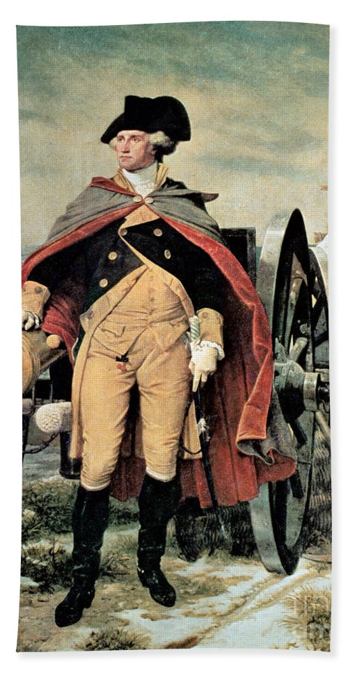 George Washington At Dorchester Heights Beach Towel featuring the painting George Washington At Dorchester Heights by Emanuel Gottlieb Leutze