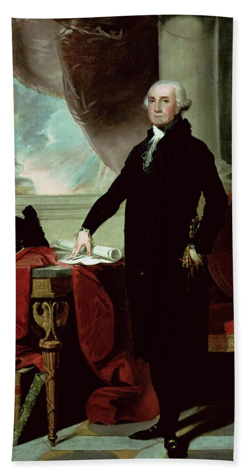 George Washington (1732-99) (colour Litho) By Gilbert Stuart (1755-1828) Beach Towel featuring the painting George Washington by Gilbert Stuart