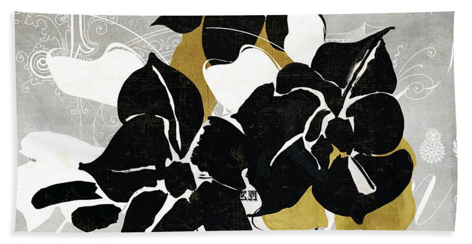 Black Flowers Beach Towel featuring the painting Georgette II by Mindy Sommers