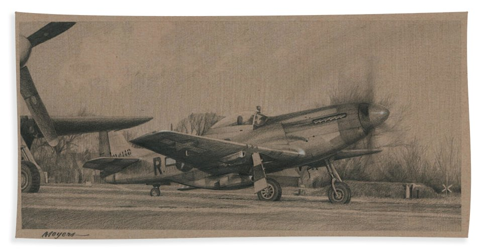 Aviation Art Beach Towel featuring the drawing Georgie by Wade Meyers