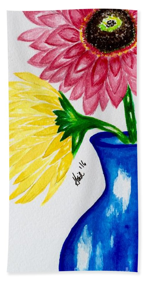 Floral Beach Towel featuring the painting Gerber Daisy Vase by Gail Nandlal
