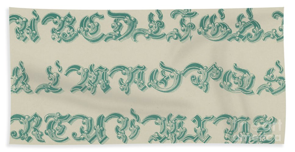 Green Beach Towel featuring the drawing German Arabesque by English School