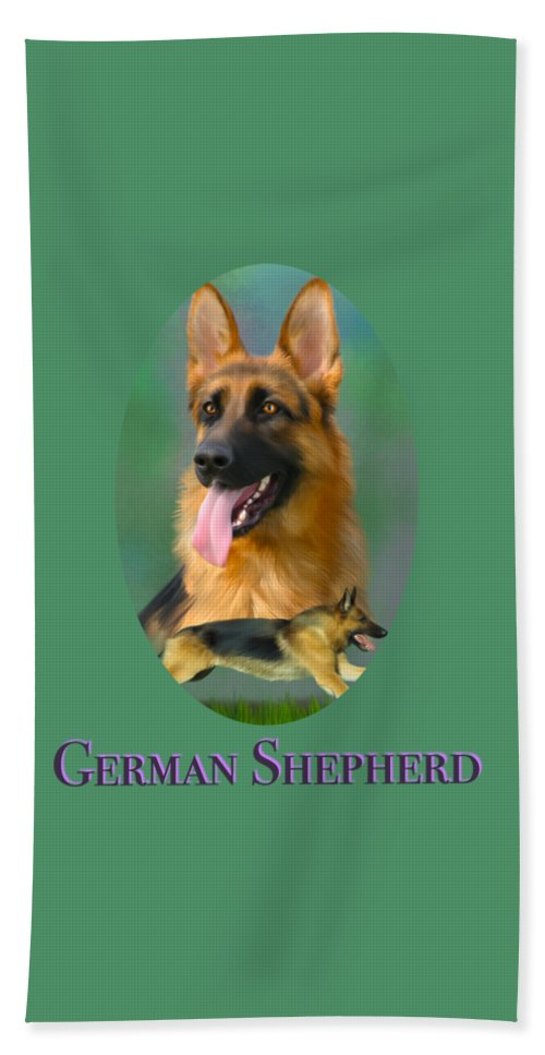 German Shepherd Beach Towel featuring the painting German Shepherd With Name Logo by Becky Herrera