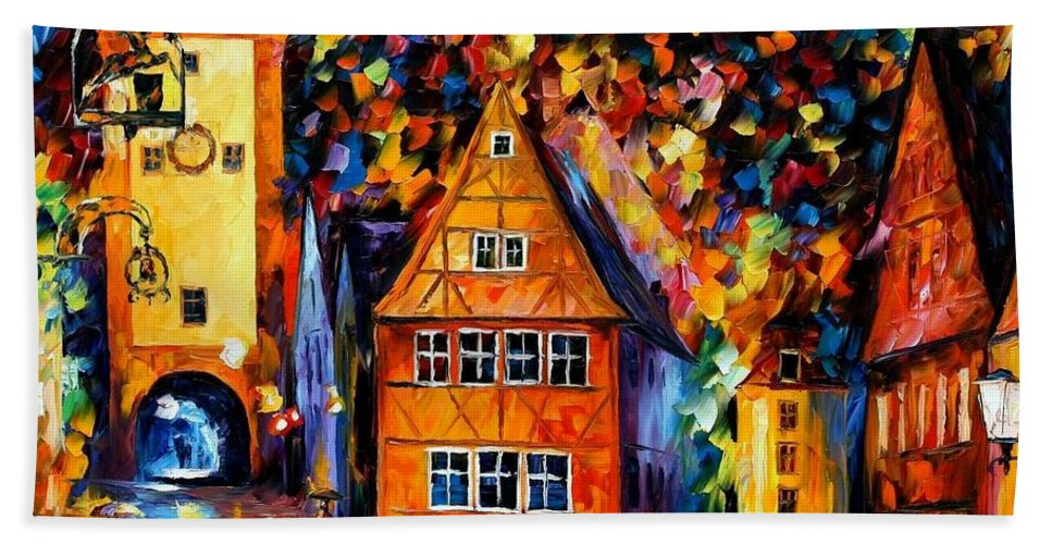 Afremov Beach Towel featuring the painting Germany - Medieval Rothenburg by Leonid Afremov