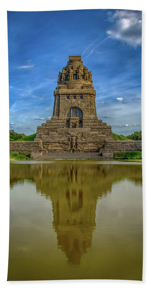 Leipzig Beach Towel featuring the photograph Germany - Monument To The Battle Of The Nations In Leipzig, Saxony by Ina Kratzsch
