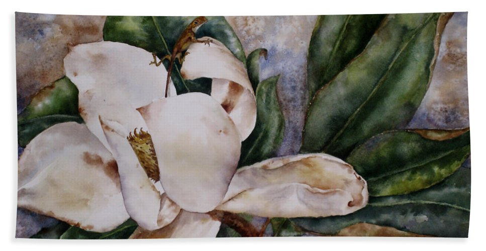 Magnolia Beach Towel featuring the painting Get A Grip by Mary McCullah