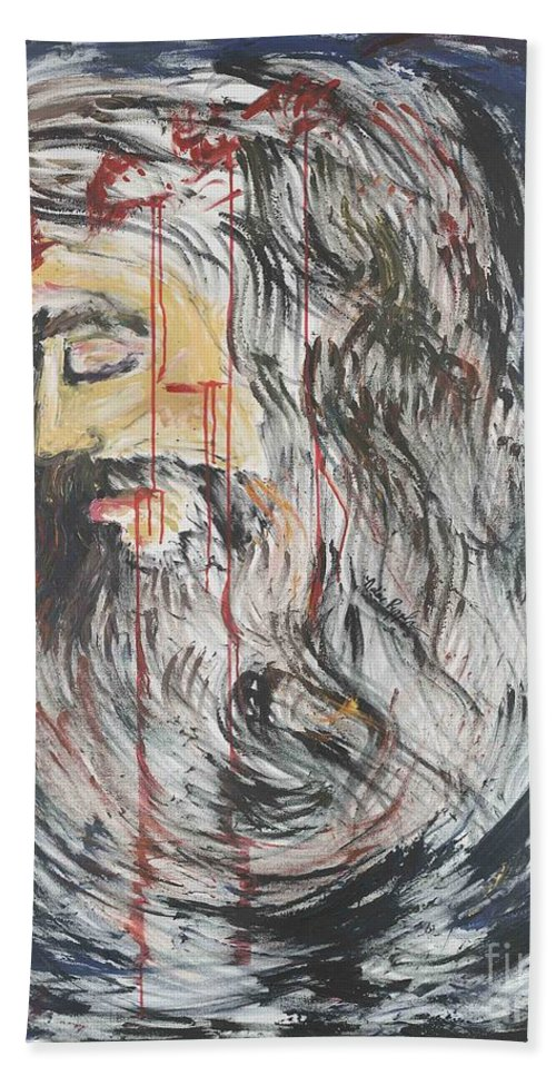 Jesus Beach Sheet featuring the painting Gethsemane To Golgotha IIi by Nadine Rippelmeyer