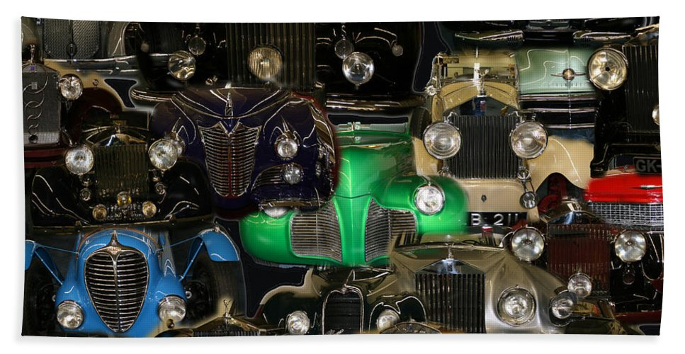 Car Grill Hood Vehicles Classic Automobile Beach Towel featuring the photograph Gettin Grilled by Andrea Lawrence