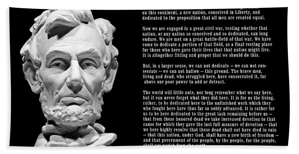 Lincoln Beach Towel featuring the photograph Gettysburg Address 1863 by Daniel Hagerman