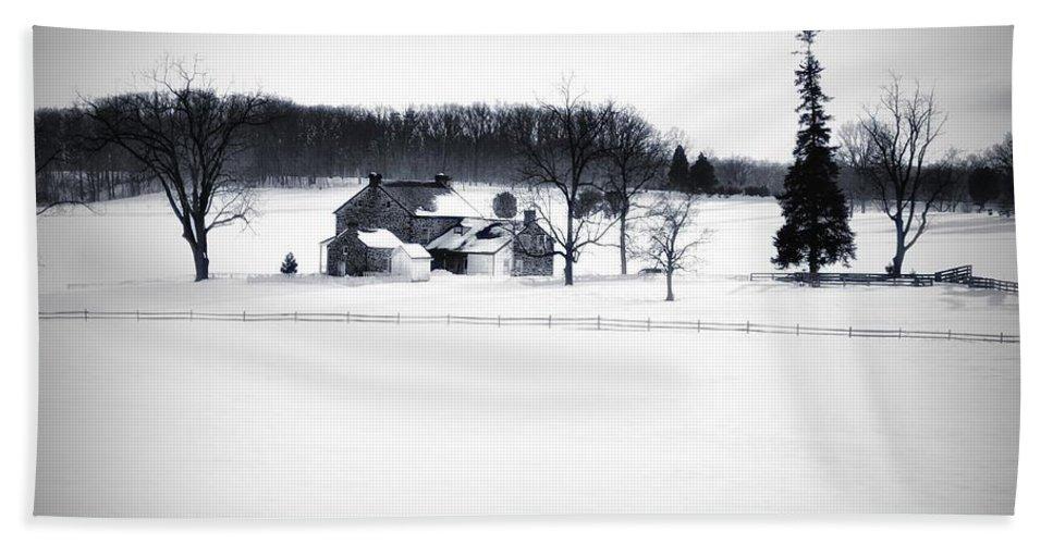 Gettysburg Beach Towel featuring the photograph Gettysburg Farm In Winter by Bill Cannon