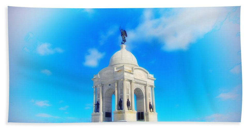 Gettysburg Memorial Beach Towel featuring the photograph Gettysburg Memorial In Winter by Bill Cannon
