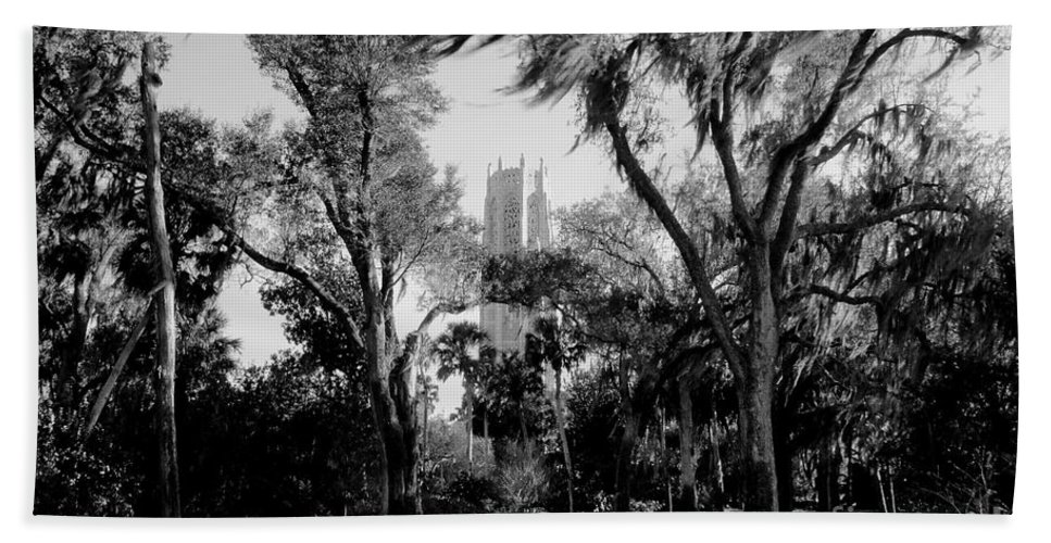 Bok Tower Beach Towel featuring the photograph Ghostly Bok Tower by David Lee Thompson
