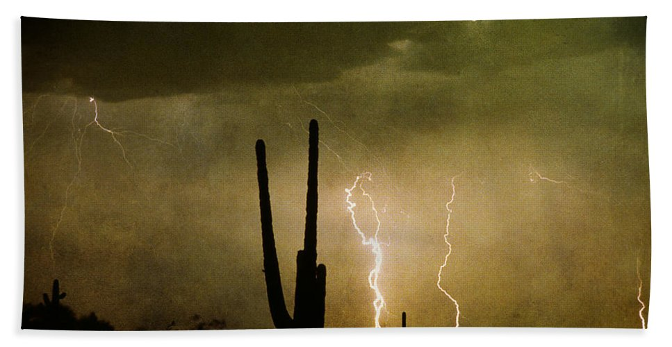 Lightning Beach Towel featuring the photograph Giant Saguaro Southwest Lightning Peace Out by James BO Insogna