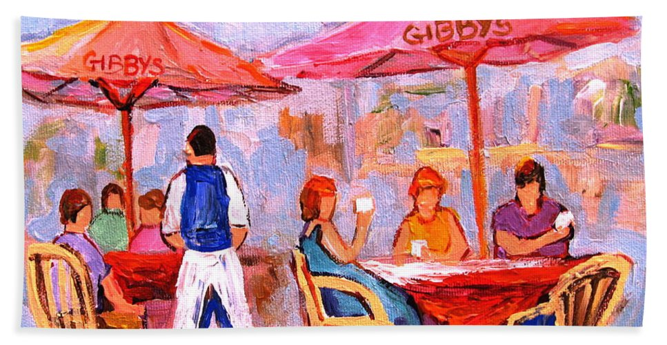Gibbys Restaurant Montreal Street Scenes Beach Towel featuring the painting Gibbys Cafe by Carole Spandau